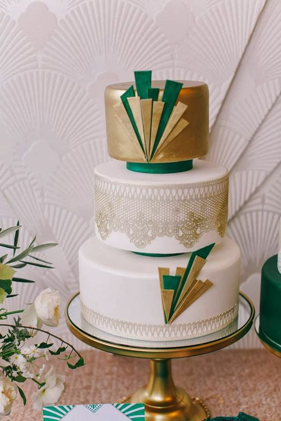 27 refined and bold art deco wedding cakes
