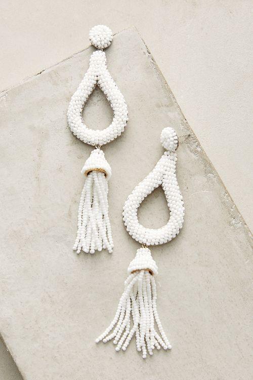 Perlen-Schleife und Quaste Ohrringe chic und modern