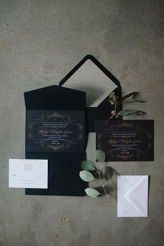 black wedding stationery with grey touches and gold calligraphy