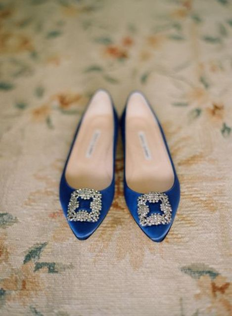 indigo wedding shoes with chic large buckles