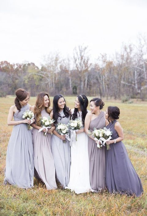 lavender bridesmaids' gown in various shades to show off the style of each girl