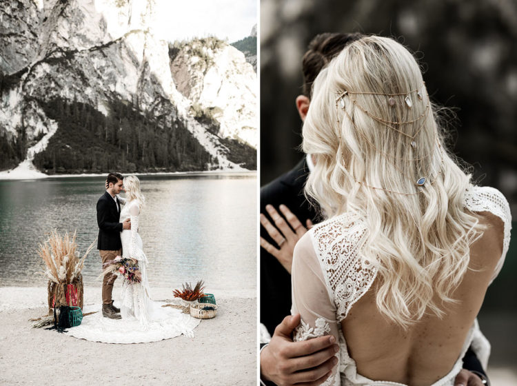 Look at the gorgeous stone headpiece and the open back of the dress