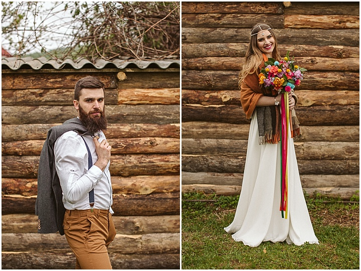 The bride was wearign a delicate wedding gown and an Alpax scarf, plus a boho head chain, and the groom was rocking neutral pants, suspenders and a grey jacket