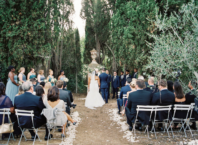 The ceremony took place in an olive grove, which was amazingly beautiful and didn't require any decor