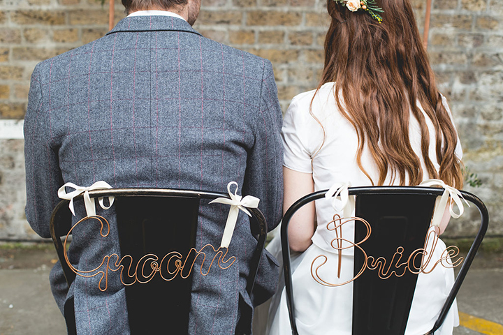 The chairs were decorated with copper signs made especially for this shoot