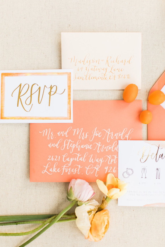 The wedding invites were in orange and yellow shades