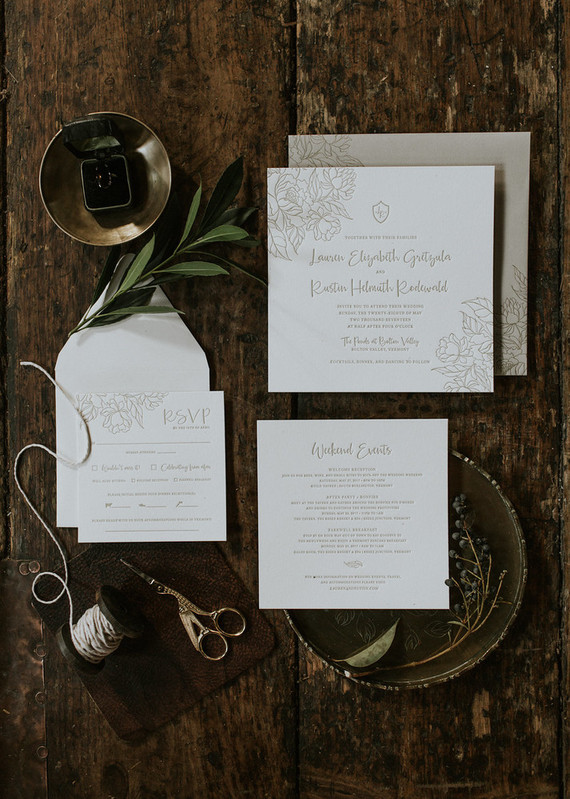 The wedding stationery was simple and pressed, with florals