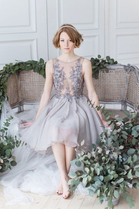 gorgeous lavender wedding dress with a sleeveless illusion bodice with lace appliques and beads