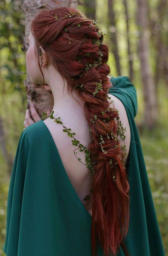 make a large braid and insert greenery or foliage in it, so you will look like an elvish princess