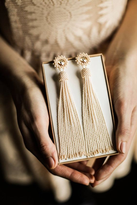 neutral bead tassel earrings for a chic bridal look