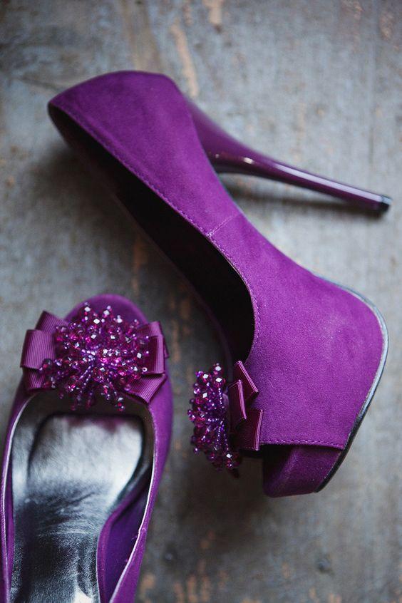 peep toe purple wedding heels with purple beading on top