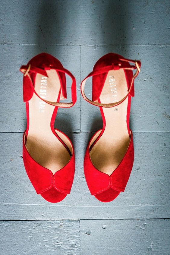 red suede wedding shoes with ankle straps for the bride