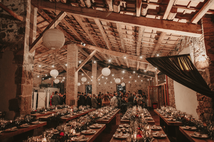 the venue was rustic, with exposed brick and stone and wooden beams, it was charming and didn't require much decor
