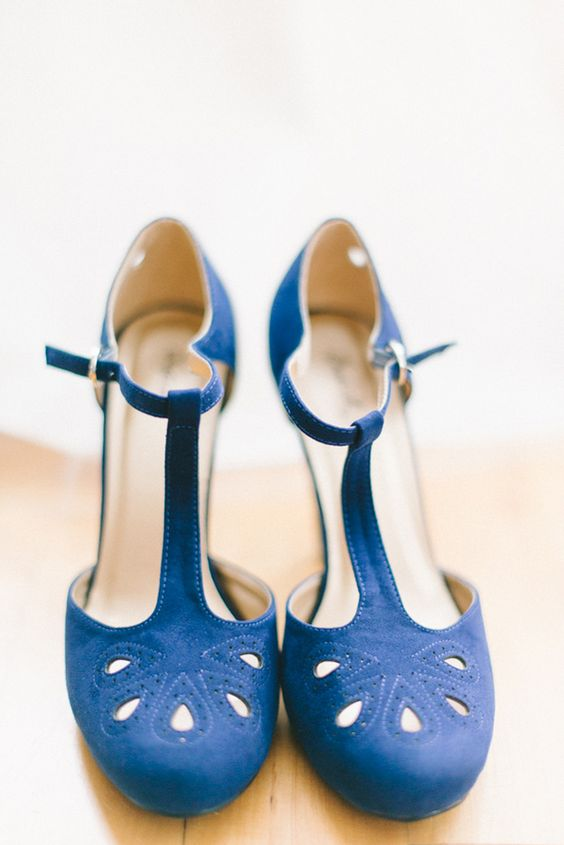 vintage indigo wedding shoes with ankle straps