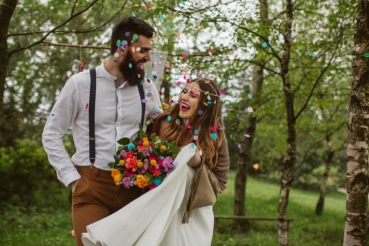 The bride loves bold colors, so the wedding shoot was full of them