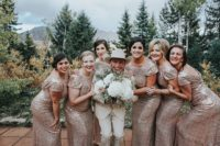07 The bridesmaids were wearing rose gold sequin maxi gowns with cap sleeves and hair updos