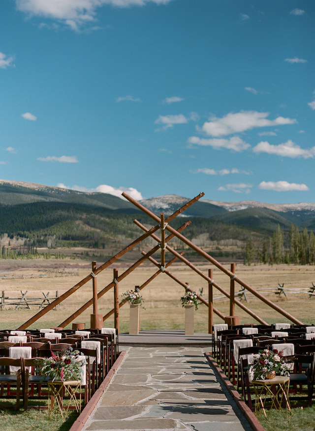 The ceremony space was a rustic one, with the best backdrop ever - amazing mountains