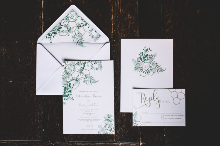 The wedding stationery was done with a hex print and greenery to fit the shoot decor