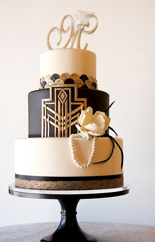Gold Black White Wedding Cake