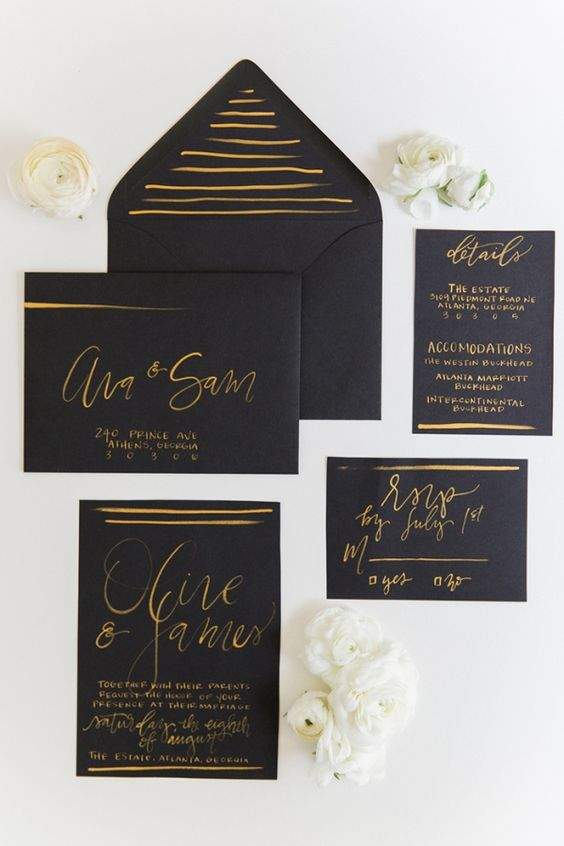 black and gold wedding stationery is classics for any wedding, it's elegant and chic and can be rocked for many themes