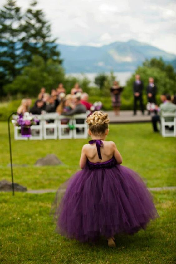 deep purple flower girl dress with a tutu skirt