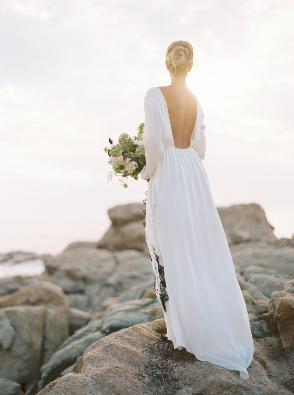 Picture of flowy open back wedding gown with long sleeves for Flowy wedding dresses with sleeves