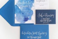 07 indigo and navy envelopes, watercolor indigo wedding invites and calligraphy