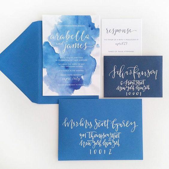 indigo und navy Umschläge, Aquarell indigo Hochzeit lädt und Kalligraphie
