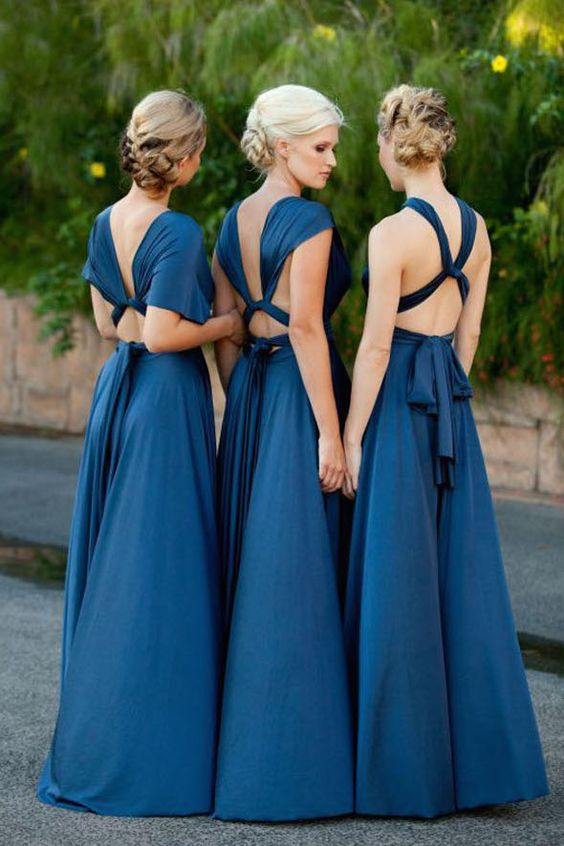 transformable indigo bridesmaids' gowns for a gorgeous look