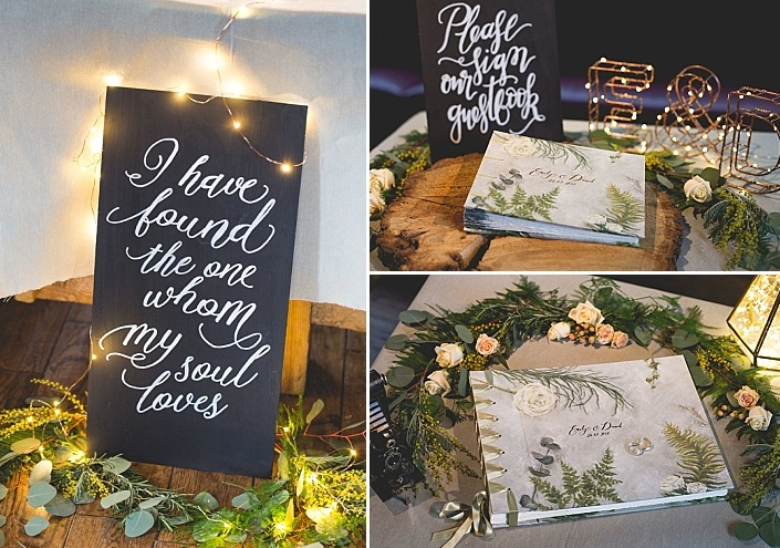 Greenery was mixed with LEDs, and a guest book was covered with a handmade image