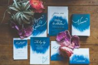 08 bold watercolor wedding invitations with white and white calligraphy