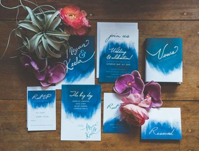 bold watercolor wedding invitations with white and white calligraphy