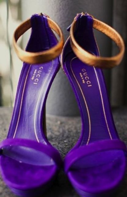 glam purple and gold modern stiletto heels for the bride