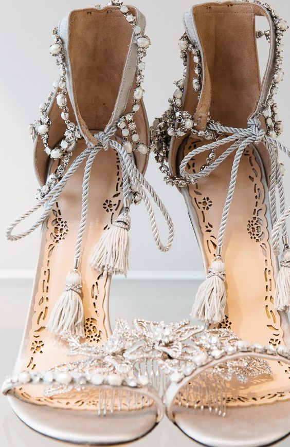 gorgeous embellished heeled sandals with pearls, rhinestones and tassels