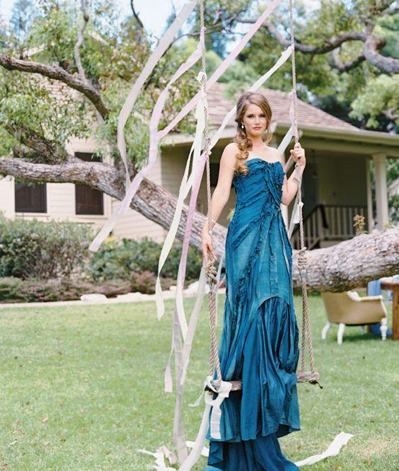 indigo ruffled strapless bridesmaid's dress for a seaside wedding
