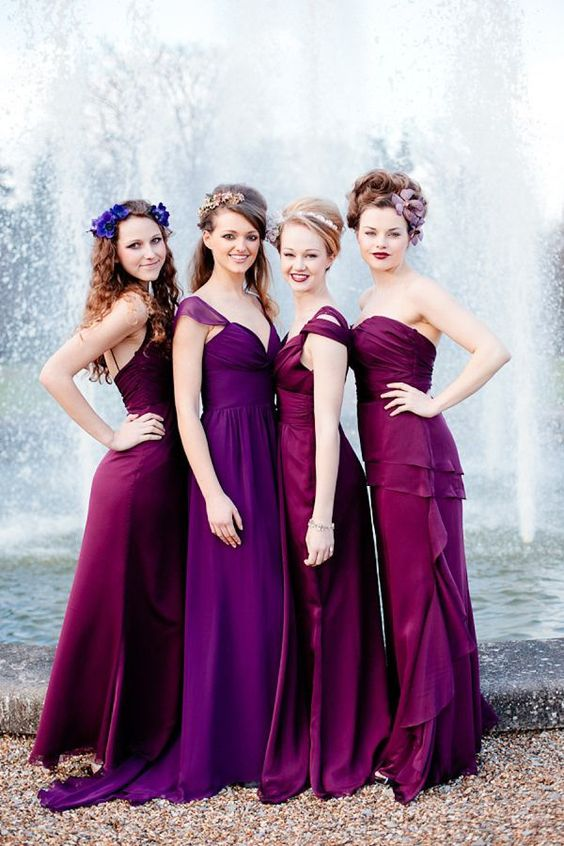 purple and fuchsia mismatched bridesmaids' dresses