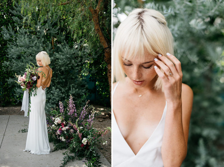 The bride was wearing a plunging neckline wedding dress with a strappy back