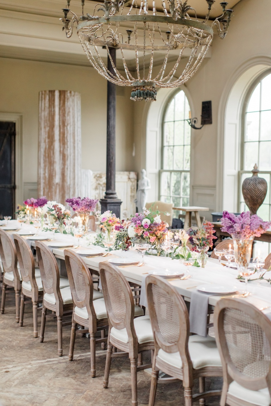 The reception was accentuated with a large vintage chandelier