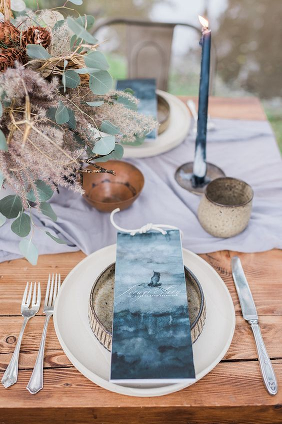 coastal indigo wedding place cards with ropes