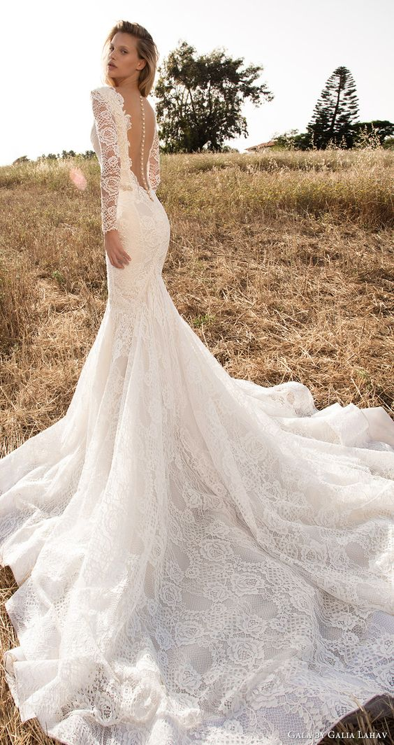 long sleeves deep V-neck mermaid lace wedding dress with an illusion back on buttons