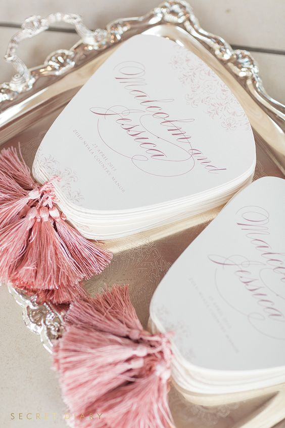 luxury fan shaped wedding programs with pink tassels look cute and interesting