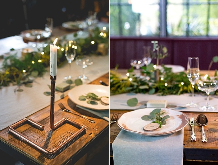 Industrial candle holders and wood slices gave a charming touch to the tablescape