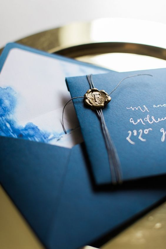 navy and watercolor indigo wedidng stationery