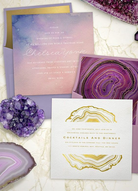 29 refined purple and gold wedding ideas weddingomania purple gold and pink shades wedding stationery with agate prints junglespirit Image collections