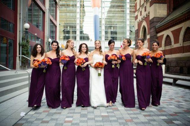 strapless herzförmiger maxi Kleider für die Brautjungfern