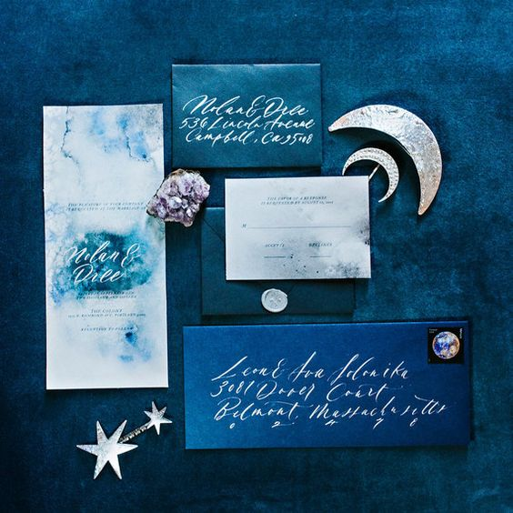 watercolor teal wedding invites, indigo and teal wedding stationery