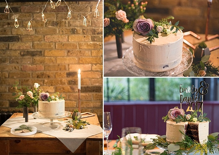 The wedding cake was a white one topped with greenery and blooms