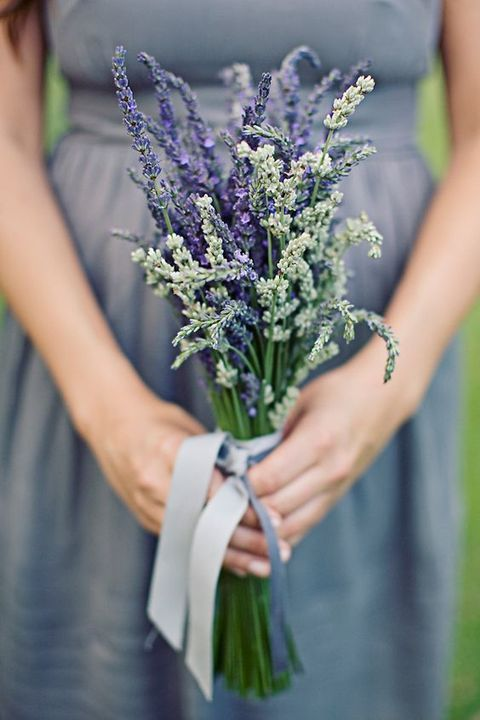 a grey bridesmaid's dress will look nice with a lavender bouquet
