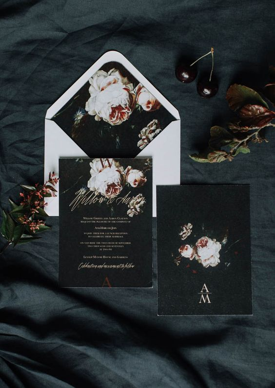 dark invites and a white envelope with realistic floral touches for a fall wedding