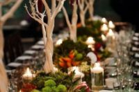 11 enchanting wedding tablescape with moss, blooms and white trees for a unique look
